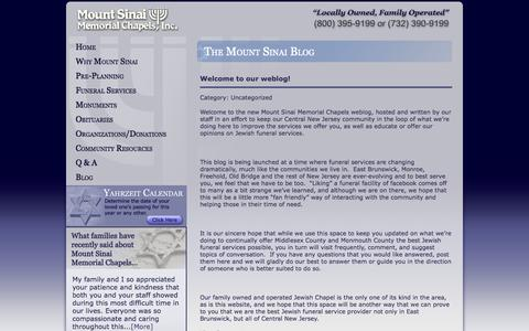 Screenshot of Blog msmc.us - Jewish Funeral Services in Brunswick New Jersey NJ, Monroe Township, Marlboro, Manalapan, and Princeton » Mount Sinai Memorial Chapel - captured Oct. 7, 2014