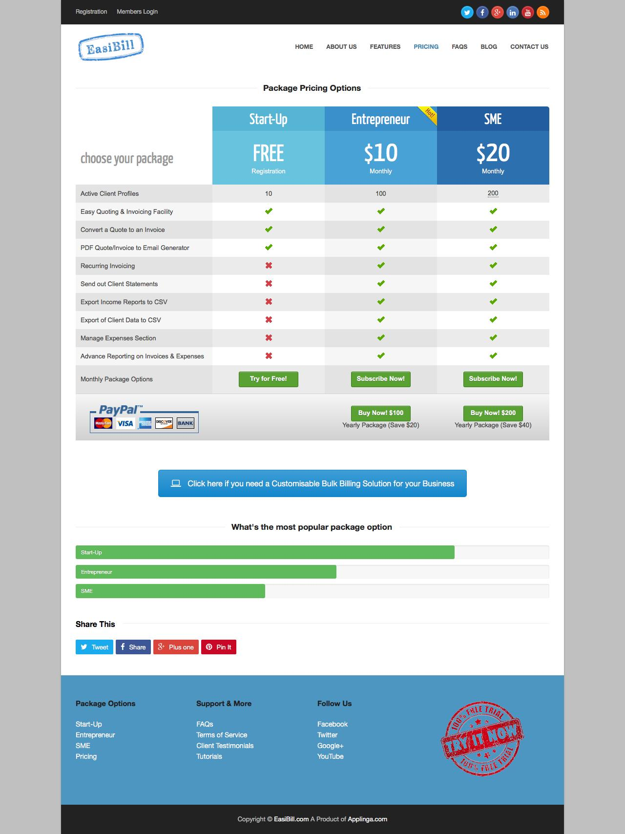 Pages color highlight - Screenshot Of Easibill Com Pricing Online Invoicing And Billing Management System Easibill