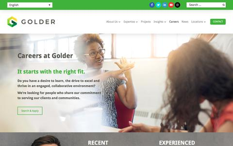 Screenshot of Jobs Page golder.com - Environmental Services & Engineering Jobs - captured Aug. 4, 2019