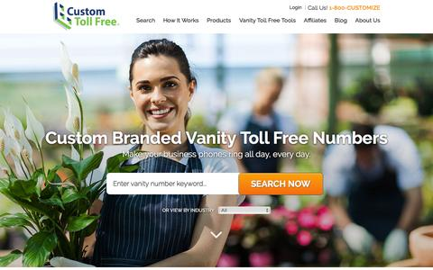 Screenshot of Home Page customtollfree.com - Vanity Numbers & Toll Free Numbers from Custom Toll Free - captured July 18, 2016