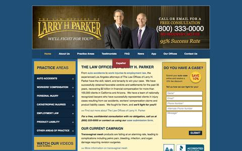 Screenshot of Home Page larryhparker.com - The Law Offices of Larry H. Parker | Car Accident Lawyers in L.A. - captured Sept. 18, 2014