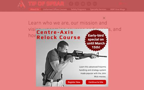 Screenshot of About Page tipofspear.ca - Tip of Spear: About Us   Edmonton, AB - captured March 9, 2019