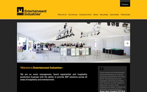 Screenshot of Home Page e-i.co.uk - Event Planners and Catering in UK | Event Production - captured Sept. 19, 2015