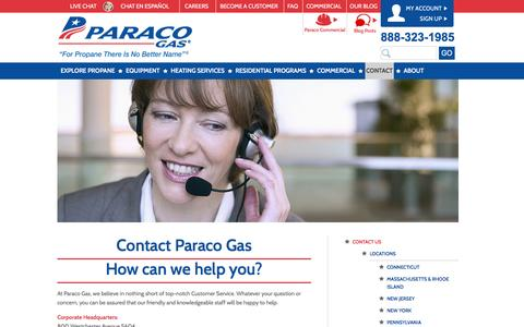 Screenshot of Contact Page paracogas.com - Contact Paraco Gas | Paraco Gas - captured Jan. 25, 2016
