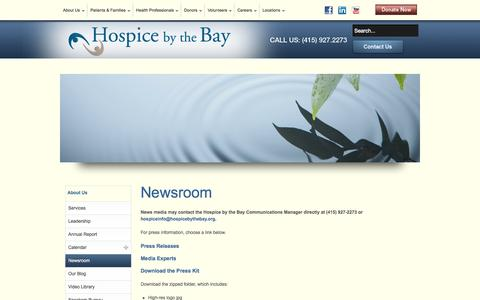 Screenshot of Press Page hbtb.org - Hospice by the Bay - Newsroom - Press Releases - History - Media Experts - captured Oct. 3, 2014