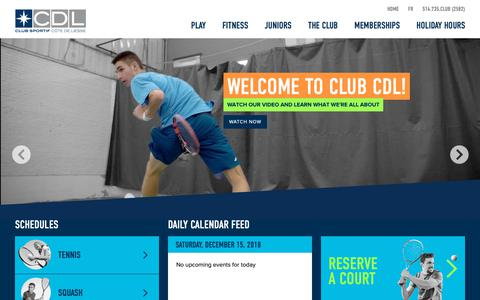 Screenshot of Home Page clubcdl.com - Club CDL   West Island Tennis and Fitness club - captured Dec. 15, 2018