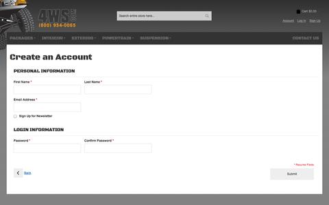 Screenshot of Signup Page 4ws.com - Create New Customer Account - captured Oct. 26, 2014