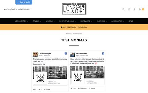 Screenshot of Testimonials Page thelongboardstore.com - Testimonials - captured Nov. 7, 2018