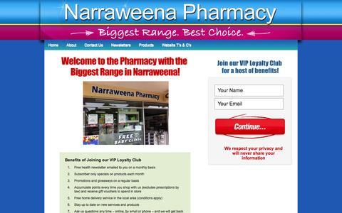 Screenshot of Home Page narraweenapharmacy.com.au - Narraweena Pharmacy | Biggest Range. Best Choice. - captured Sept. 30, 2014