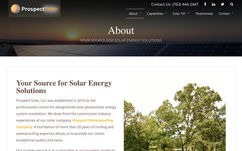 Screenshot of About Page prospectsolar.com - About | Prospect Solar - captured July 22, 2018