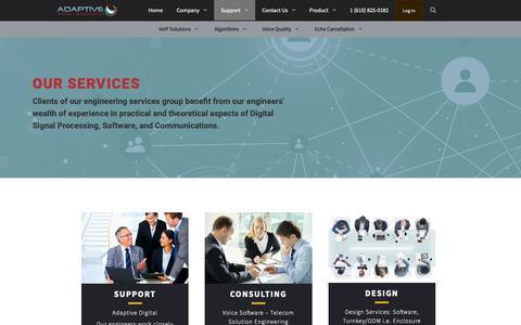 Screenshot of Services Page adaptivedigital.com - Support, Consult, Design Services | Adaptive Digital - captured Oct. 3, 2018