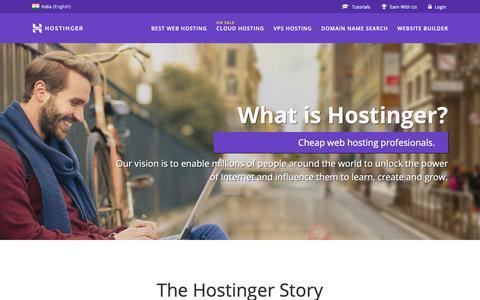 Screenshot of About Page hostinger.in - About Hostinger web hosting company - captured March 2, 2019