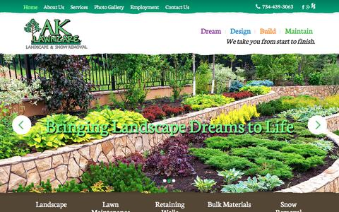 Screenshot of Home Page ak-lawncare.com - Landscape Company, Services | Milan, Ann Arbor, Canton, Tecumseh, MI - captured Oct. 6, 2017