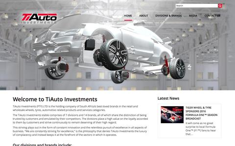 Screenshot of Home Page tiauto.co.za - TiAuto Investments is the holding company of SA's best-loved wheel & tyre Brands - captured Feb. 16, 2016