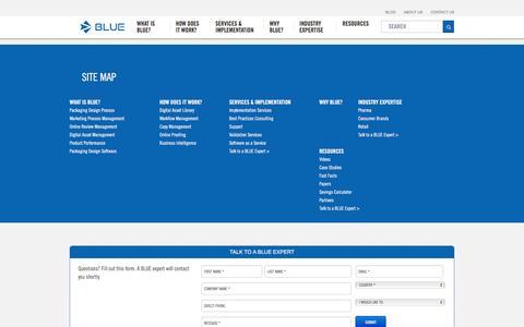 Screenshot of Site Map Page bluesoftware.com - Site Map   BLUE Software - captured Nov. 22, 2016