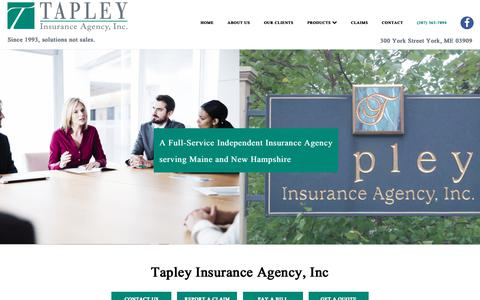 Screenshot of Home Page tapleyagency.com - Property & Casualty Insurance Agency York | Tapley Insurance - captured Oct. 18, 2018