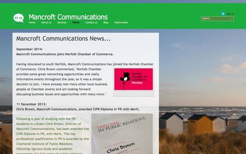 Screenshot of Press Page mancroftcommunications.co.uk - Mancroft News - captured Dec. 9, 2015