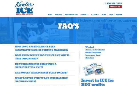 Screenshot of FAQ Page koolerice.com - FAQ'S | Kooler Ice - captured Oct. 6, 2014