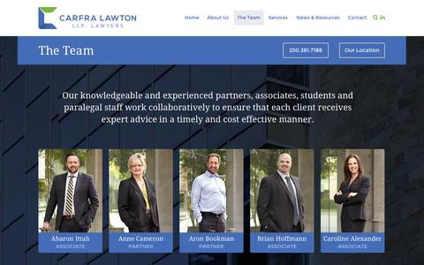 Screenshot of Team Page carlaw.ca - The Team - Carfra Lawton LLP - Insurance Lawyers - captured Oct. 1, 2014