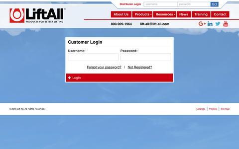 Screenshot of Login Page lift-all.com - Customer Login | Lift-All - captured Nov. 7, 2016