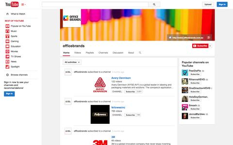 Screenshot of YouTube Page youtube.com - officebrands  - YouTube - captured Oct. 29, 2014