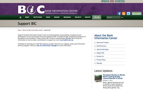 Screenshot of Support Page bicusa.org - Support BIC - Bank Information Center - captured Oct. 5, 2014