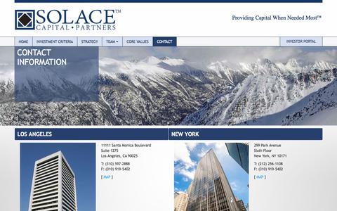 Screenshot of Contact Page solacecap.com - Contact - Solace Capital Partners - captured Nov. 5, 2014