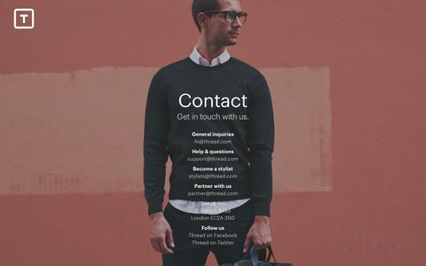 Screenshot of Contact Page thread.com - Thread - captured Sept. 17, 2014