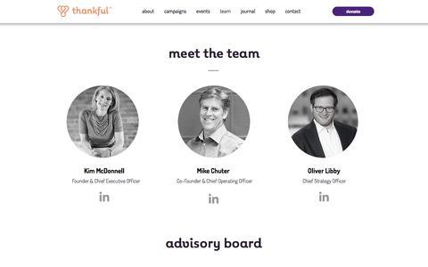 Screenshot of Team Page thankful.org - Thankful | team - captured Aug. 23, 2018
