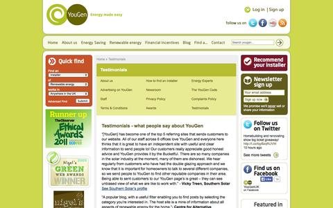 Screenshot of Testimonials Page yougen.co.uk - Testimonials | YouGen, Renewable Energy Made Easy in the UK - captured Sept. 23, 2014