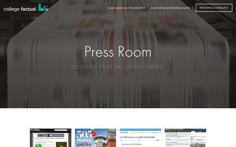 Screenshot of Press Page collegefactual.com - Press Room — Inside College Factual - captured July 15, 2016