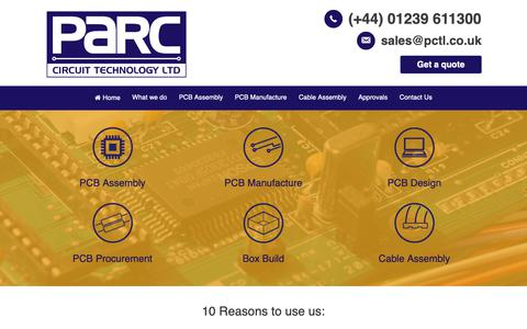 Screenshot of Home Page pctl.co.uk - Parc Circuit Technology Ltd offers a complete PCB Manufacturing Service - captured Sept. 26, 2018