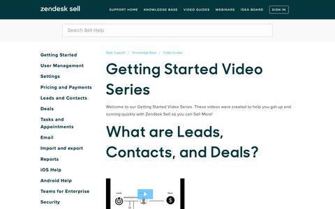 Screenshot of Support Page getbase.com - Getting Started Video Series – Base Support - captured Nov. 15, 2018