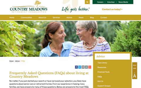 Screenshot of FAQ Page countrymeadows.com - FAQs | Country Meadows Retirement Communities - captured July 21, 2018
