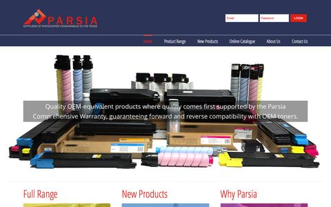 Screenshot of Home Page parsia.co.uk - PARSIA – Suppliers of photocopier consumables to the trade - captured Oct. 21, 2016
