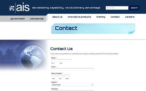 Screenshot of Contact Page ainfosec.com - Contact - AIS - captured Nov. 21, 2016