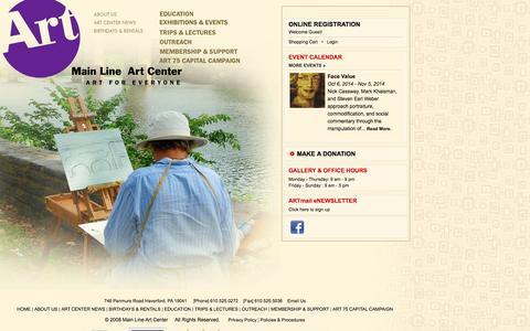 Screenshot of Home Page mainlineart.org - Main Line Art Center - captured Oct. 4, 2014
