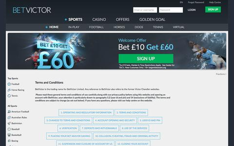 Screenshot of Terms Page betvictor.com - Terms & Conditions - BetVictor - captured Nov. 20, 2017