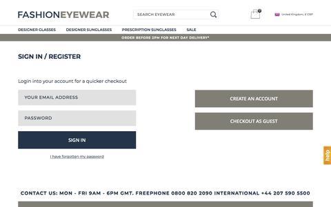 Screenshot of Login Page fashioneyewear.co.uk - Sign In / Register - captured Aug. 12, 2018