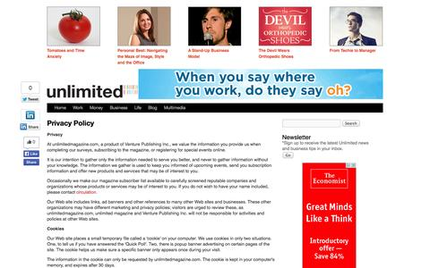 Screenshot of Privacy Page unlimitedmagazine.com - Privacy Policy | Unlimited – Gen Y Business Culture – Work, Money, Entrepreneurs, Life, Style, Health, How-Tos - captured Oct. 9, 2014