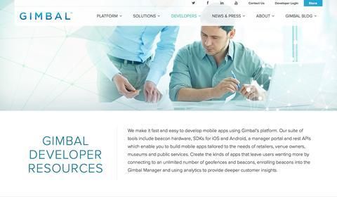Screenshot of Developers Page gimbal.com - Developers - Gimbal - captured Jan. 14, 2016