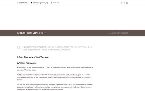 Screenshot of About Page vonnegutlibrary.org - ABOUT KURT VONNEGUT - Kurt Vonnegut Memorial Library - captured Feb. 12, 2016