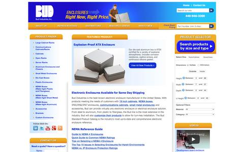 Screenshot of Home Page budind.com - Electronic Enclosure Solutions & Accessories | Bud Industries - captured Sept. 23, 2018