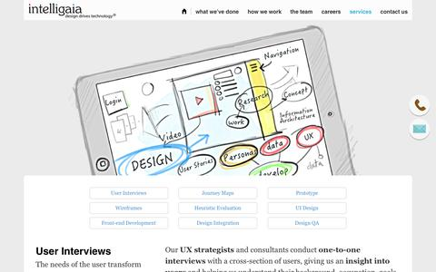 Screenshot of Services Page intelligaia.com - Services - Intelligaia: Design Thinking for Enterprise - UX and UI Consulting - captured Feb. 11, 2016