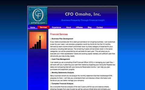 Screenshot of Services Page cfoomaha.com - Services - captured Oct. 1, 2014