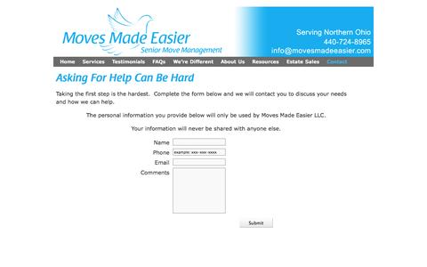 Screenshot of Contact Page movesmadeeasier.com - Contact Us | Moves Made EasierMoves Made Easier - captured Oct. 9, 2014