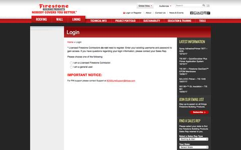 Screenshot of Login Page firestonebpco.com - Login - Firestone Building Products - captured Oct. 13, 2017