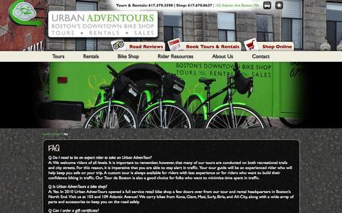 Screenshot of FAQ Page urbanadventours.com - Urban AdvenTours | FAQ - captured Oct. 26, 2014