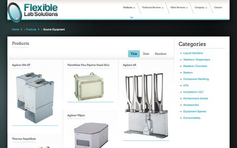 Screenshot of Products Page flexible-lab-solutions.co.uk - Source Equipment - Flexible Lab Solutions - captured Sept. 30, 2014