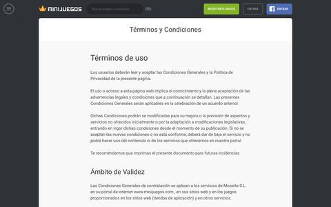Screenshot of Terms Page minijuegos.com - Términos y condiciones - captured Nov. 7, 2018
